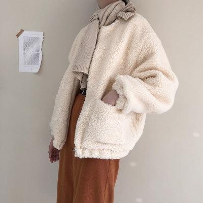 韓国風/秋冬/新しいデザイン/手厚い/子羊ウール/野球ユニフォーム/ルース/短いスタイル/裏起毛/アウターウェア/女子学生