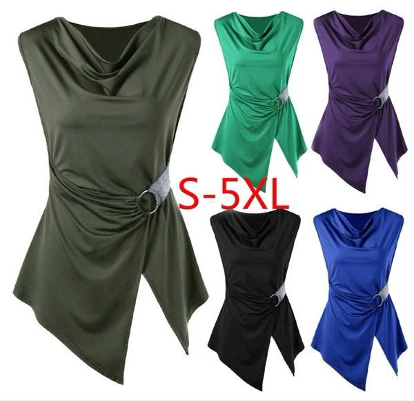 女性のファッションセクシーなシャーリングノースリーブチュニックトップスリムフィットカジュアルタンクトップTシャツプラスサイズXXS  -  5XL