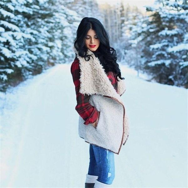 ファッションレディース冬モノグラムフェイクファーのベストノースリーブのアウターウェアGiletウエストコートジャケット