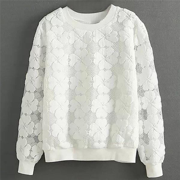 ヘッジラウンドネック長袖セーター半袖レースセーター