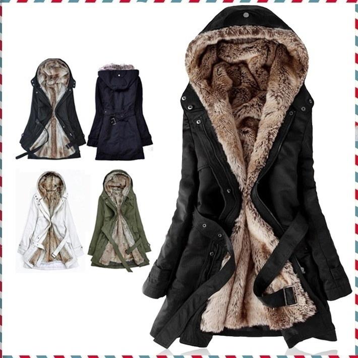 厚いフェイクファーのライニングの女性の毛皮のパーカー冬は暖かいロングファーインサイドコートジャケット綿の服サーマルパーカーを