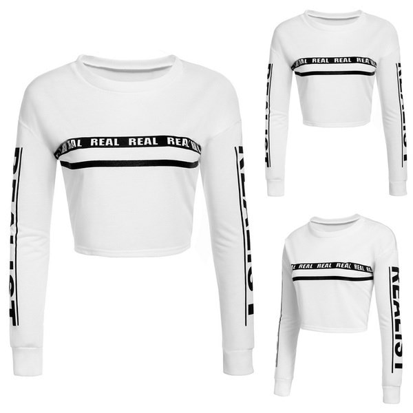 Women Fashion Casual Round Neck Long Sleeve Drop Shoulder Cropped Pullover Sweats Sweatshirts