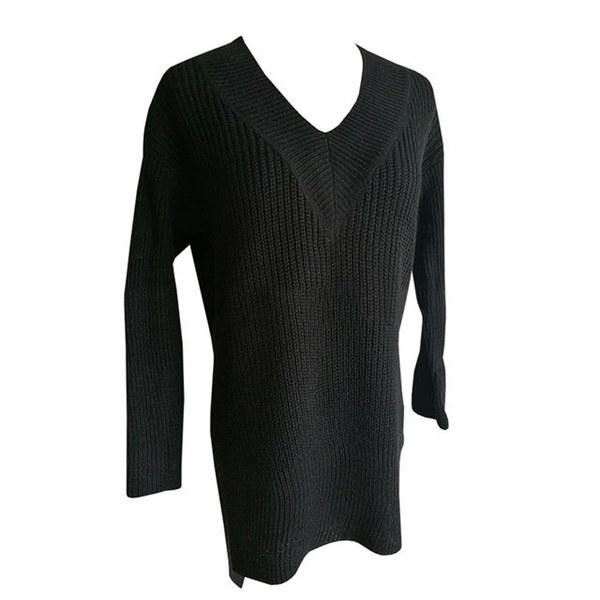 ファッション女性セクシーなVネックセータープルオーバーレディースカジュアルルーズサイドスリット編みセータージャンパー
