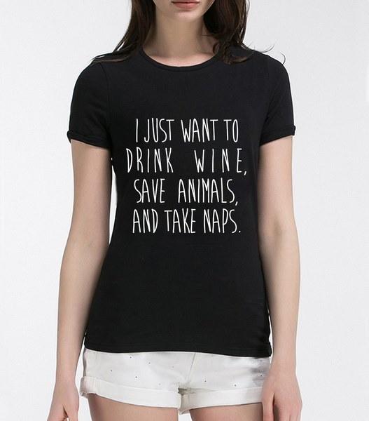 2017女性Tシャツ私はワインを飲みたいです動物を節約するNAPSプリントシャツ女性のために原パンク