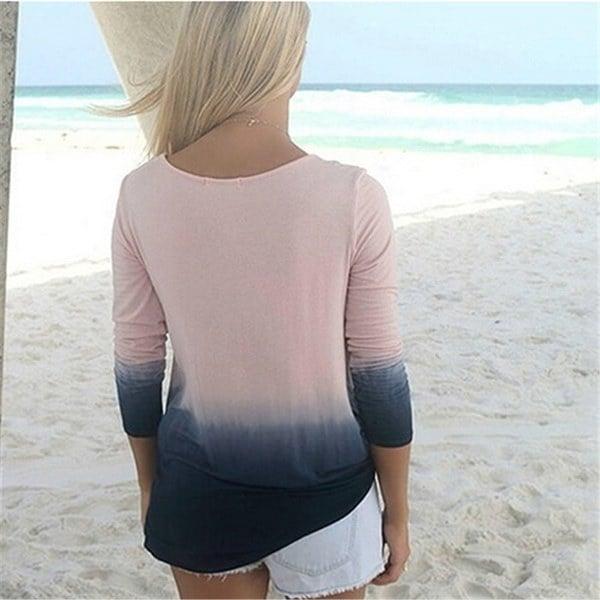 高品質の女性のファッションラウンドネックロングスリーブグラデーションカラーTシャツトップシャツブラウス