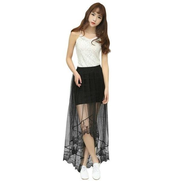 女性セクシーなレーススカートファッションロングセクションスカートジュープチュールブラックホワイトショートスカート