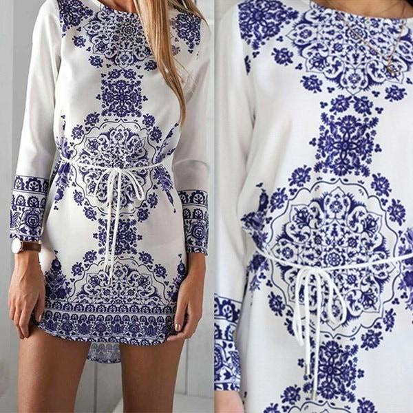 新しい女性ファッションロングスリーブブルーと白ヴィンテージ磁器フラワーブラウスミニドレス