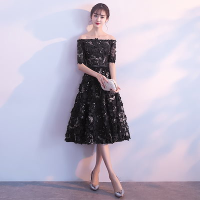 パーティードレス 結婚式 二次会 ワンピース 結婚式ドレス お呼ばれワンピース 20代 30代 40代 袖あり ひざ丈 黒 ピンク ネイビー 花柄