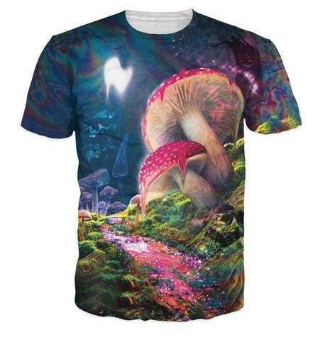 Fashion Clothing 3d psychedelic vision of a melting mushroom premium t shirt Womens/Mens Casual t sh