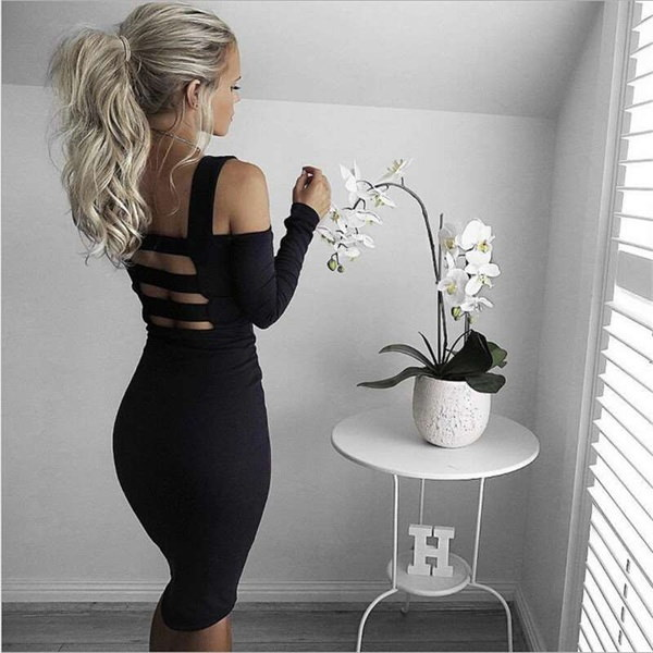 女性のファッションセクシーなスリングバックレス長袖スリムバンデージパーティードレス