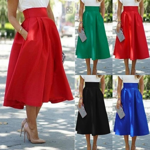 ファッションレディースラインフレアプリーツレディースソリッドプレーンカジュアルヴィンテージエレガントポケットミディアムスカート