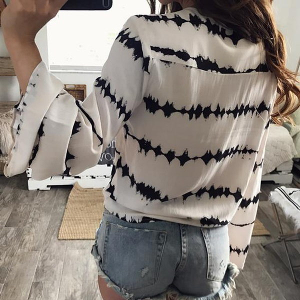 Women Loose Long Sleeve Printed Tops Chiffon Casual Blouse