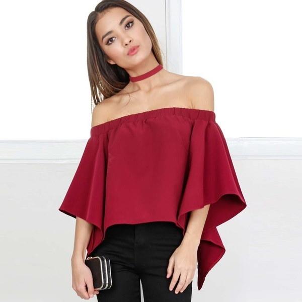 新しいファッション女性セクシーなオフショルダーカジュアルブラウスサマートップスビーチTシャツ