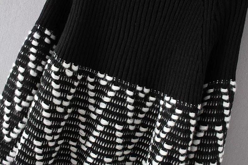 2017秋冬 黑白 タートルネックニット スリープフレア 伸縮性 レディース 春 秋 冬   着やせ  トップス セーター