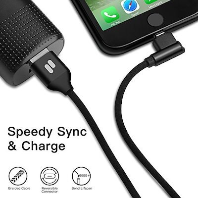 Puridea (3 Pack 6Ft) 90 Degree iPhone USB Cable,Right Angle Lightning Cable Nylon Braided Fast Sp...