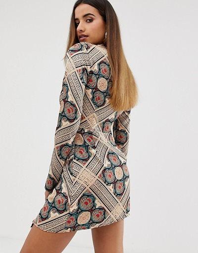 ミスガイデッド レディース ワンピース トップス Missguided twist satin dress in paisley