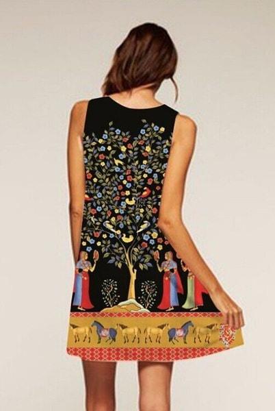 女性の女の子のファッション花の蝶の絵ミニホルターのドレスカジュアルラインのノースリーブのベストドレス