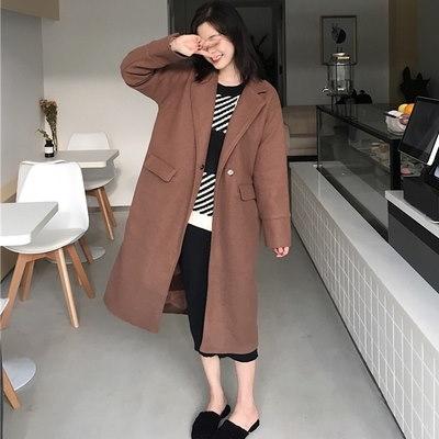 [55555SHOP]アンティーク調/韓国風/新しいデザイン/気質/長袖/バックル/単一色/ウールのコート/ルース/カーディガン/ウールコート/女/秋冬