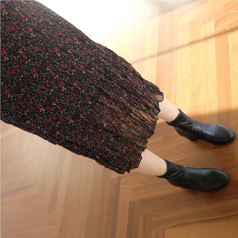 [REFLOWER]★2COLOR★韓国ファッション/プチシフォンロング/ワンピース/シフォン/ロング/しわ/フラワー/ブイネク/ラッフル/パターン/ハイクオリティー