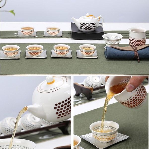 陶器のティーポットセット中国の茶カップ白い中空のデザインのクリーマーティーポットのギフト