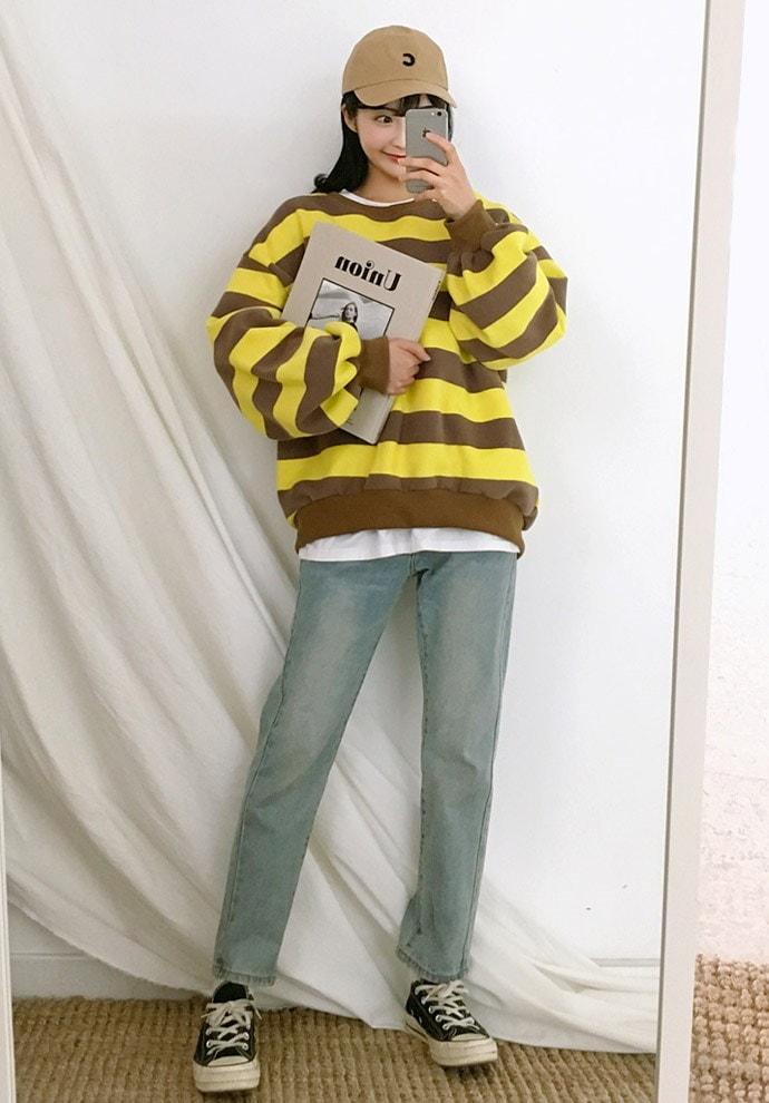 【GOGOSING】表・裏起毛ボーダー柄スウェット★レディーストップス スウェット ラウンドネック プルオーバー ボーダー柄 冬 トレンド 韓国ファッション p000ckmm
