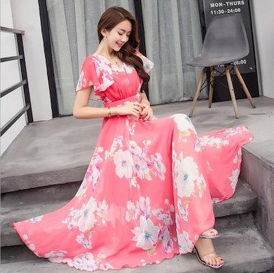 レディース マキシ ワンピース L ローズ ピンク × 白 花柄 シフォン フレア袖 エレガント ドレス ワンピ