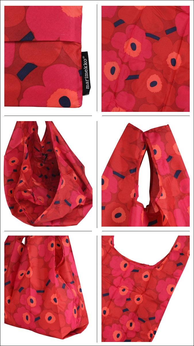 マリメッコ marimekko バッグ エコバッグ トートバッグ 花柄 038695 レッド SMART BAG MINI UNIKKO レディース