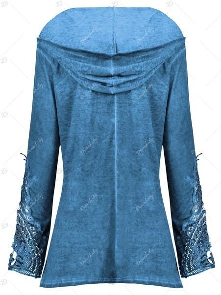 新しい女性のファッションのかぎ針編みのパネルプラスサイズのパーカーのトップス