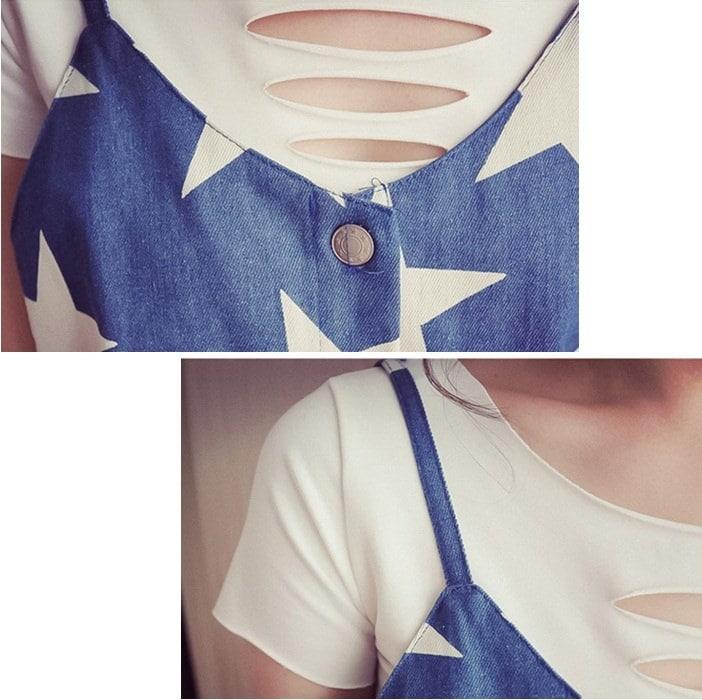 [新作★NewItem]3サイズ!ダメージ加工Tシャツ&スター柄ゆったりタンクトップセット/セットアップ/レディース♪【RCP】【smtb-m】