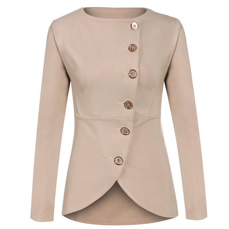 Finejoソリッドファッション女性アウターウェアコートジャケットシングルブレストロングスリーブターンダウン襟春秋の女性の服