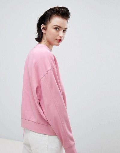 ウィークデイ レディース パーカー・スウェット アウター Weekday cropped sweatshirt in pink
