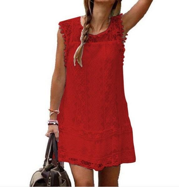 夏のファッション女性のドレスセクシーなノースリーブ中空レースドレスミニドレスビーチドレスベストドレスVesti