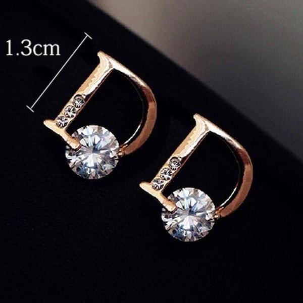 トレンディなデザインクラシックジュエリーファッションジルコンダイヤモンドスタッドピアスレターDピアスかわいい(カラー:ゴー