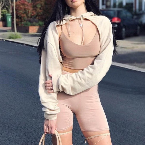 Women Hoodies Front Open Sweatshirt Midriff kpop bts Pullover Tops