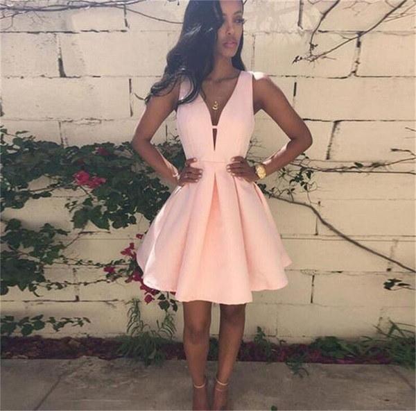 Sexy Deep V-neck Sundress Fashion Zipper Hollow Mini Dress Ladies Party Dress