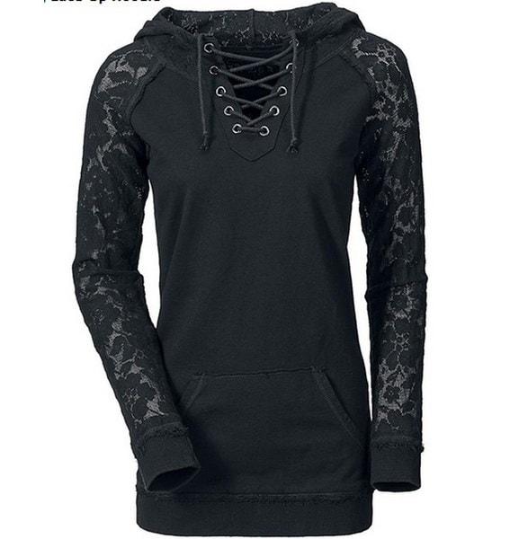 女性のファッションレースステッチカジュアル巾着セーター