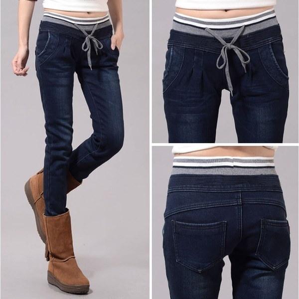 プラスサイズL~4XLファッション弾性ウエストハレムジーンズ女性ストレートパンツ