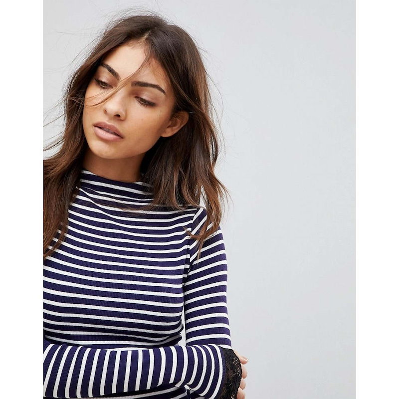 エイソス レディース トップス【ASOS High Neck Polo in Stripe with Lace Trim】White/navy