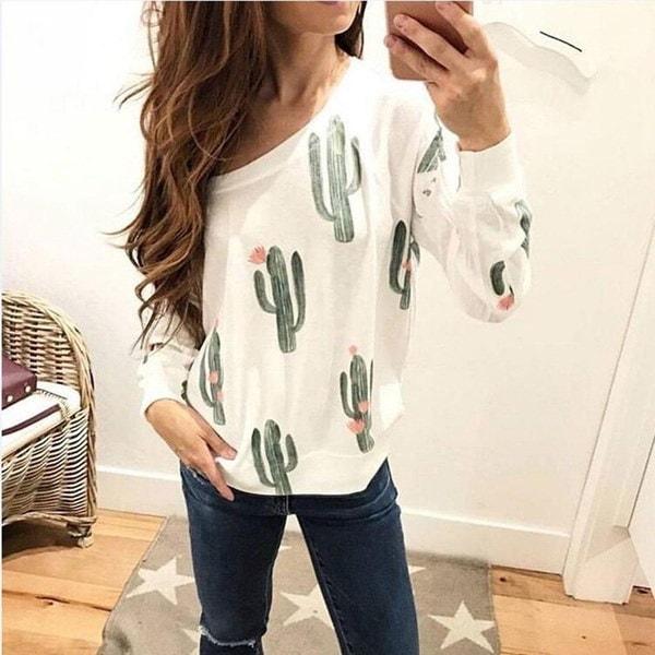 女性ファッションサボテン花プリント長袖Tシャツ秋カジュアルセクシーなプルオーバーセーターシャツ