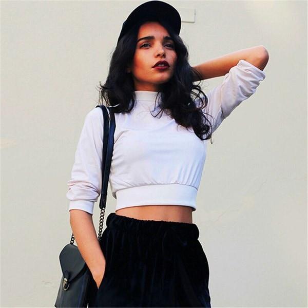 ソリッドカラーホワイト女性学生クロップトップティーファッション韓国スタイルMidriffセクシーなブラウスTシャツロングS