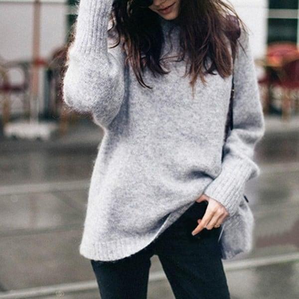 ファッションシックな女性のファッションOネックロングスリーブ厚手のプルオーバーニットセータールーズトップ