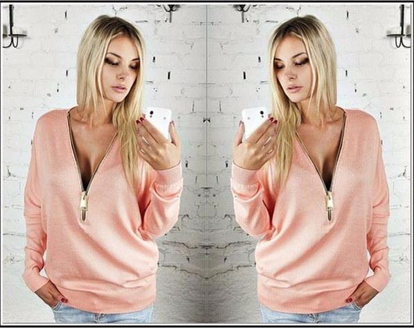 女性セクシーなディープVの首輪ドレスジッパーバットウィングスリーブ長袖Tシャツセーター