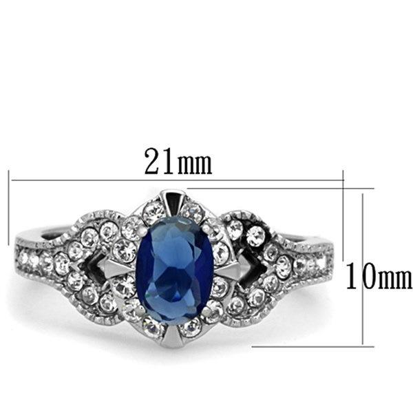 1.45 CtブルーモンタナCZビンテージステンレス鋼婚約指輪レディースsサイズ5-10