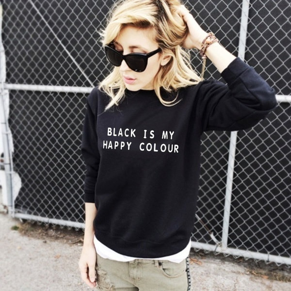 黒は私のハッピーカラーファッションパーカー女性スポーツ原宿黒スウェット