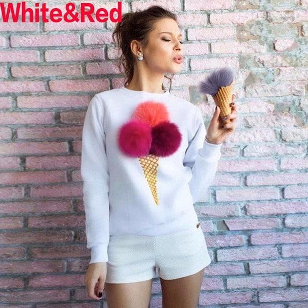 新しい到着女性のファッションかわいいポンパムアイスクリームコーンスウェットシャツ長袖プラスサイズスマートB