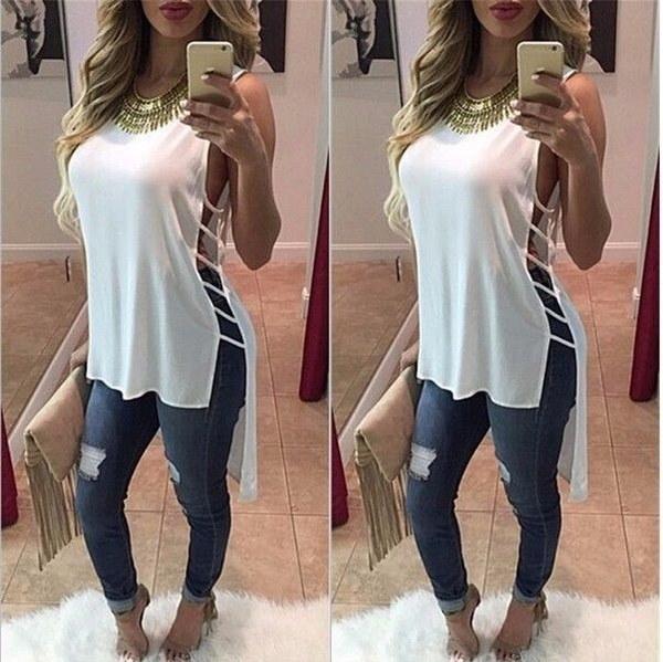 女性の夏のベストノースリーブブラウスカクテルカジュアルシフォンタンクトップTシャツ