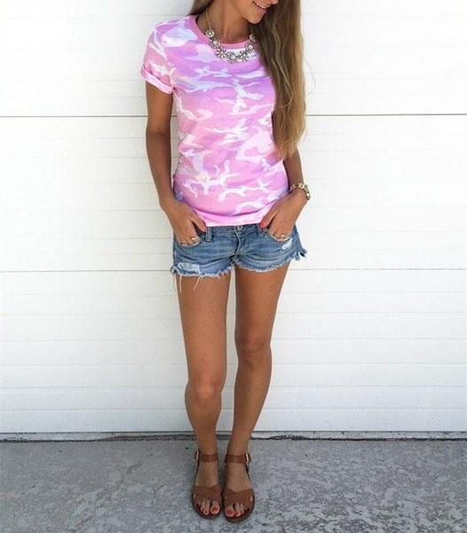女性のカジュアル半袖Tシャツブラウス夏のカモフラージュトッププラスサイズのTシャツ