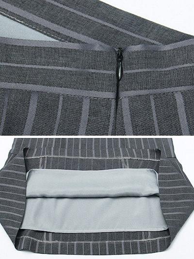 シンプルOL通勤ストライプ柄切り替え着やせスカート
