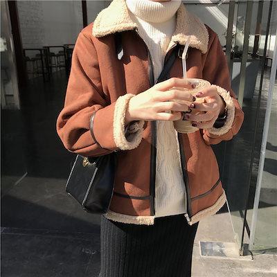 冬物 人気 コート 裏ボア ショートコート ベイクドカラー もこもこ カジュアル 女子会 デート hf00386
