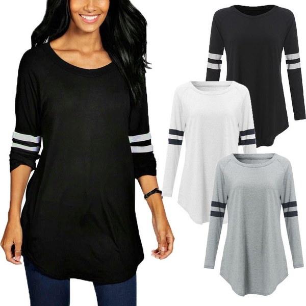 ZANZEA Women長袖ストライプクルーネックスリムカジュアルTシャツトップスブラウスTee